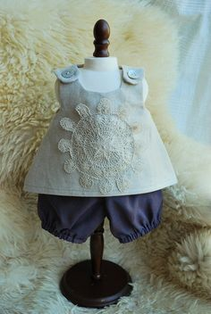 Waldorf Doll Clothes -- Linen Doily Pinafore Dress with Handwoven Knickers -- for 15 Inch Dolls -- last one available
