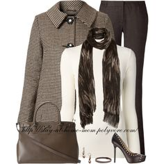Brown Marking Print Scarf, created by stay-at-home-mom on Polyvore