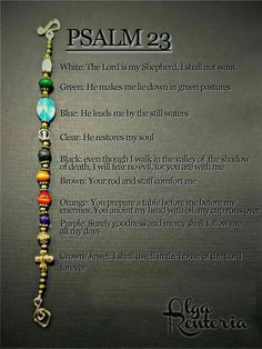 Jewelry Making Bracelets Psalm 23 bracelet with meaning of it: - Christian Crafts, Christian Jewelry, Christian Bracelets, Psalm 23, Beaded Jewelry, Handmade Jewelry, Beaded Bracelets, Pandora Bracelets, Diy Jesus Bracelets