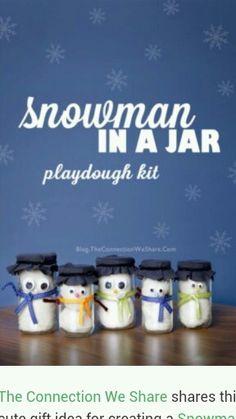 Playdoh kit... Snowman in a jar! Super cute for winter birthdays!
