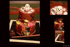 Birthday cake for a Harry Potter-themed party! Hand molded and hand cut fondant and gumpaste crest, wand, chocolate frog, Hedwig, glasses, scarf, letters, whomping willow. Quotes from the books printed around the edge of the cake board. Espresso cake with chocolate buttercream.