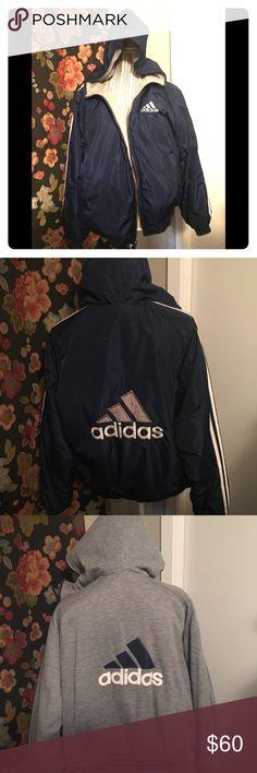 3d4c97738 Old school 90's Adidas Reversible Jacket 90's old school reversible jacket  with hoodie. One owner