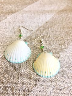 White Scallop seashell earrings with a turquoise painted rim. Handmade and hand selected from Floridas ocean shores
