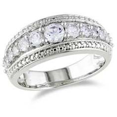 Lab-Created White Sapphire Band in Sterling Silver  - Peoples Jewellers