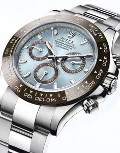 New Rolex Cosmograph Daytona: Baselworld 2013  An obsession with perfection This legendary chronograph is proposed, for the first time, entirely in 950 platinum, the noblest of precious metals. It is equipped with a chestnut brown monobloc Cerachrom bezel in ceramic and an ice blue dial.