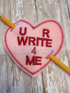 In The Hoop Valentine's Day Card Pencil Holder by HugLonger on Etsy