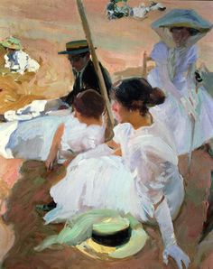 Learn more about Under the Parasol Zarauz 1910 Joaquin Sorolla y Bastida - oil artwork, painted by one of the most celebrated masters in the history of art. Spanish Painters, Spanish Artists, Figure Painting, Painting & Drawing, Virtual Art, Illustration Art, Illustrations, Art Academy, Paintings I Love