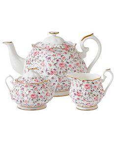 Royal Albert Dinnerware, Rose Confetti 3-Piece Tea Set - Fine China - Dining & Entertaining - Macy's