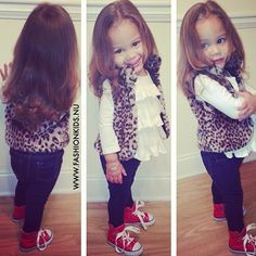 toddler outfit, animal print, ruffled shirt, red sneakers