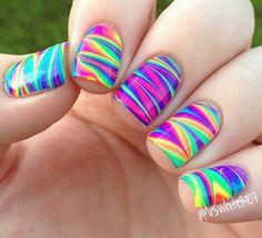 Neon water marble nail art using Pipe Dream Polish neons