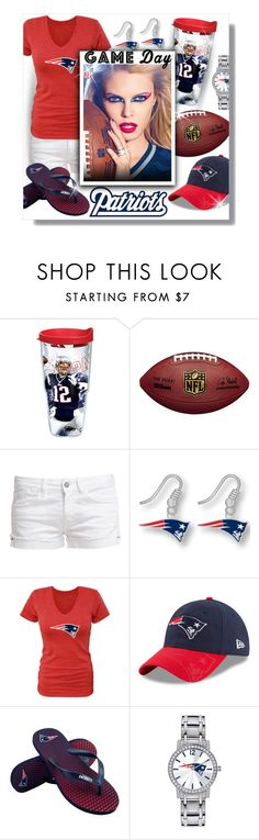 """#443 - Game Day: Go Patriots!"" by lilmissmegan ❤ liked on Polyvore featuring Tervis, Le Temps Des Cerises, aminco, COVERGIRL, Forever Collectibles, Game Time, patriots, gameday, NFL and NewEnglandPatriots"