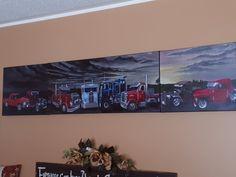 Custom truck painting #acrylic #trucks #sunset #custom #bigrig #canvas #multiple #custompainting #artist #truckartist Truck Paint, Custom Trucks, Rigs, My Photos, Sunset, Portrait, Canvas, Artist, Painting