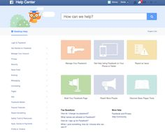 Facebook: top header is consistent with facebook dashboard (pulls users back into Facebok...), Common categories highlighted by icons and colors with extensive list of category sections on the left (animation to show section branch).