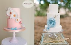 wafer paper flowers cakes from Amelie's Kitchen Wedding Cake Design left and Hey There Cupcake right