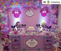 Minnie Mouse Birthday Decorations, Minnie Mouse Theme Party, Minnie Mouse First Birthday, Mickey Mouse Clubhouse Birthday Party, Mickey Mouse Birthday, Mickey And Minnie Cake, Daisy Party, Birthday Girl Pictures, Little Pony Party
