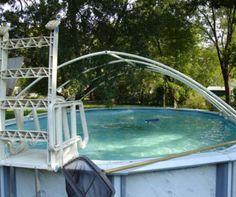 Build a PVC pool cover Pvc Pool, Pool Decks, Swimming Pool Enclosures, Swimming Pools Backyard, Swimming Pool Designs, Tub Enclosures, Foto Online, Pool Shade, Ideas
