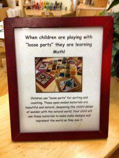 Loose parts play, teachers, parents, newsletter