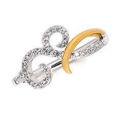 1/5 Ctw. Diamond Swirl 14K Gold Two Tone Ring