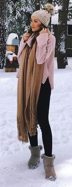 #winter #fashion /  Grey Beanie + Pink Knit + Camel Fringe Scarf + Black Leggings