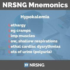 hypokalemia mnemonic for nurses Nursing Pneumonics, Nursing Study Tips, Nursing School Notes, Nursing Career, Nursing Degree, Nursing Board, Nursing Scrubs, Lpn Schools, Online Nursing Schools