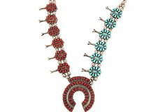 Reversible Turquoise & Coral Petit Point Squash Blossom Necklace by Victor Moses Begay on @One Kings Lane by @RubyplusGeorge