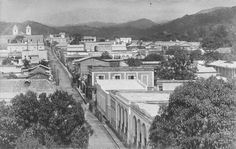 Vista del municipio de Mayagüez, Puerto Rico (c1900) Once de Agosto bajando hacia el oeste (la playa). Cerro de las Mesas detrás de la catedral. Mendez Vigo esta a la izquierda.