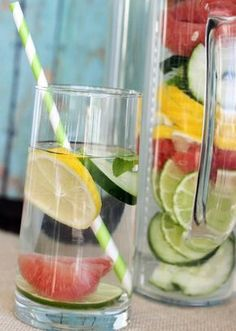 This great detox water not only rids your body of toxins but helps to flush fat from your body as well. Just add ½ gallon of spring water, ½ of a medium grapefruit (sliced), ½ a cucumber (sliced), ½ each of a sliced lemon and lime and a couple of mint leaves. Allow the ingredients to sit in the fridge for a couple of hours before serving and drink at least half gallon per day for optimal results.