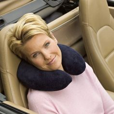 Tempur-Pedic U-Shaped Travel Pillow: The perfect neck support pillow for car, train, or plane. The U-Shaped support pillow is specially designed to surround and cradle the neck for proper support.  http://www.relaxtheback.com/travel/travel-pillows/tempur-pedic-u-shaped-travel-pillow.html