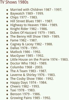 ....these were your favorite shows? Top 80s TV Shows