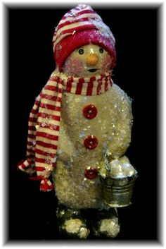 """Tutorial creating a paperclay Snowman, """"Frosty Frances"""". $14.99, via Etsy."""