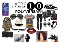 """Celebrate Our 10th Polyversary! Happy 10th Birthday!"" by fallen-wolf on Polyvore featuring Marvel Comics, River Island, Ollie & B, Yves Saint Laurent, Casetify, Marc Jacobs, rag & bone, Karl Lagerfeld, Monza and Fallon"