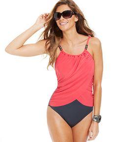 7ddc1cbc2f11c Magicsuit Draped Allover Slimming Underwire One-Piece Swimsuit & Reviews -  Swimwear - Women - Macy's