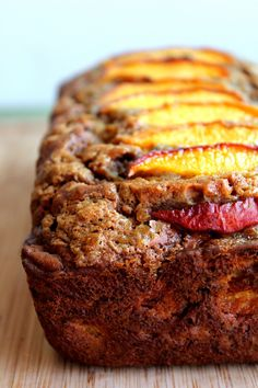 Healthy & Low-fat Cinnamon Peach Banana Bread made with greek yogurt
