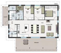Herralan Sisu-talomallin pohjapiirustus Sweet Home, My House, Floor Plans, Flooring, How To Plan, Home Decor, Decoration Home, House Beautiful, Room Decor