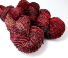 Hand Painted Dyed MCN Fingering Sock Yarn US Brick Red