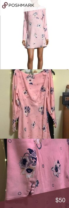 Free People Sun Shadows Mini Dress Super cute long sleeved yet lightweight bright pink dress with a floral pattern—perfect for Easter and warmer weather!! NWT; perfect condition! Free People Dresses Mini