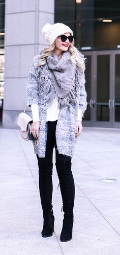 Weekend outfit inspiration: eyelash cardigan, white thermal, and comfortable leggings.