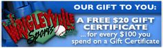 Click for Gift Certificates! For every $100 you spend on a gift certificate, we will send you a $20 gift certificate as our gift to you!