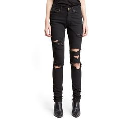 Women's Saint Laurent Destroyed Skinny Jeans ($890) ❤ liked on Polyvore featuring jeans, pants, black, stretch denim jeans, destroyed denim skinny jeans, frayed hem jeans, rock n roll jeans and destroyed skinny jeans