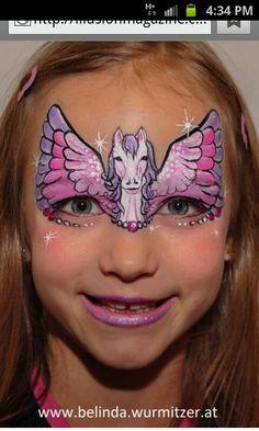 Amazing Pegasus face painting. Wow #facepaint #facepainting face painting ideas for kids
