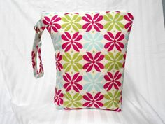 Wet Bag Stand Up Large Pink Blue Floral by SewThoughtfulBlanket
