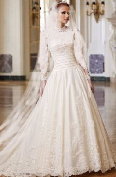 Gorgeous Modest Wedding Gown With Full Sleeves