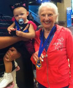 at a local ice skating competition- youngest & oldest competitors: Sarah, 1, & Yvonne, 87. Yes, that's ages 1 & 87!