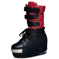 Women Red and Black Leather Platform Wedge Lace Up Puff Snow Boots SKU-11405734