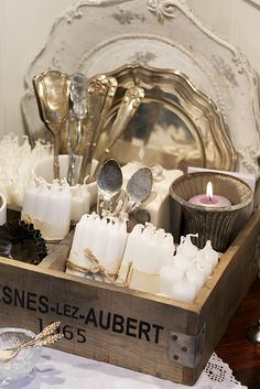 silver cutlery, white candles, mercury glass in old Wood crate Love Vintage, Vintage Silver, Vintage Diary, Vintage Vibes, Wooden Crates, Wooden Boxes, Bougie Partylite, Vibeke Design, White Candles