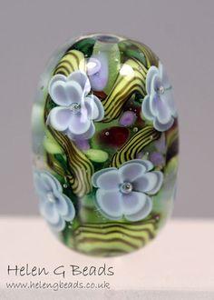 Gorgeous lampwork floral focal by Helen Gorick ♥