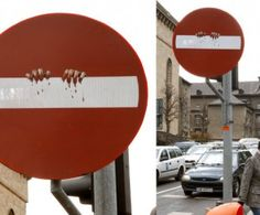 Clet Abraham Street Art Blue Circle Fish Signs CLET STREET ART - Brilliant street artist modifies road signs giving them a whole new meaning