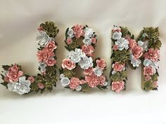 This listing is for 2 letters and one & symbol, or 3 lettrs. Letters are made of paper mache and filled with handcrafted paperflowers. Perfect for weddings and events. Can be hung to create wedding initials or used on a sweet table. These letters have multiple uses and can be customized to match your decor theme.  The letters are 12 inches tall 2 inches thick. *Additional sizes available - See variaitions - Sizes are approximate and differ slightly depending on letter or number. Flowers a...