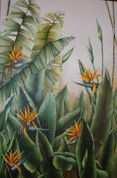 Strelitzia Motif Floral, Arte Floral, Plant Illustration, Botanical Illustration, Mural Wall Art, Tropical Art, Leaf Art, Botanical Art, Painting Inspiration