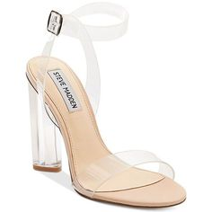 Steve Madden Women's Teena Dress Sandals (820 GTQ) ❤ liked on Polyvore featuring shoes, sandals, clear, steve-madden shoes, clear shoes, steve madden, block heel ankle strap shoes and steve madden sandals